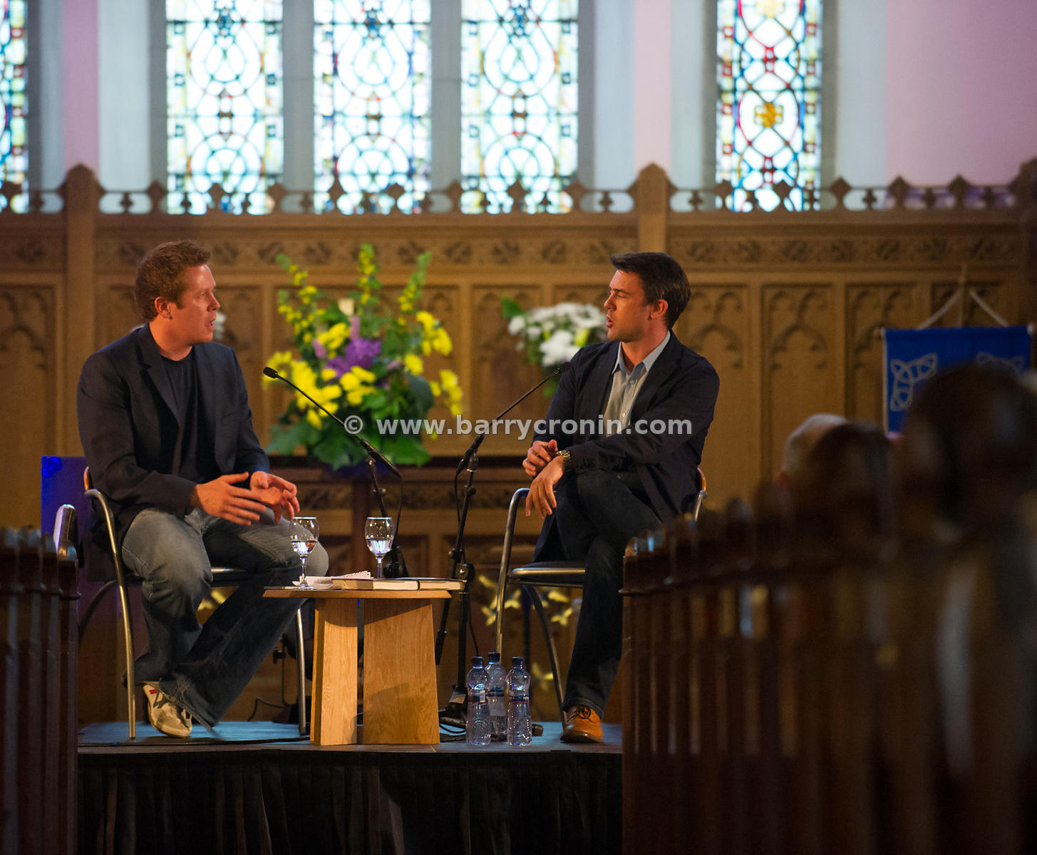 30th June, 2013. Kells Hay Festival, Kells, County Meath. Author Owen Sheers (R) this year's Hay Festival International Fello...