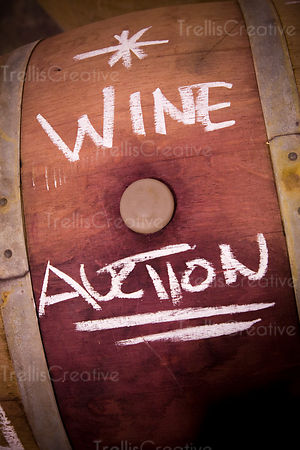 Wine stained barrel for wine auction