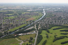 Wide angle view showing Manchester Ship Canal and Boysnope wharf situated on the old course of the river Irwell Liverpool Roa...