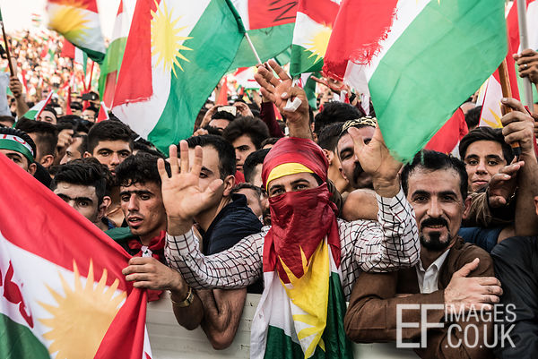 Flag Fever at the final Kurdish Independence Referendum rally at the Franso Hariri Stadium in Erbil. 22nd September 2017. Eli...