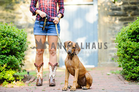 lady in cowboy boots walking a rhodesian ridgeback