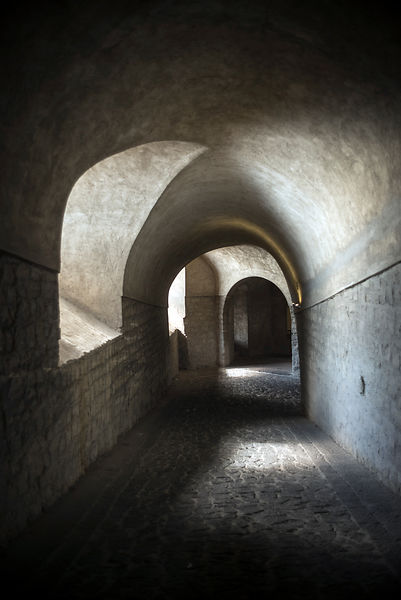 A corridor in the Castel Nuovo, Naples, Italy.
