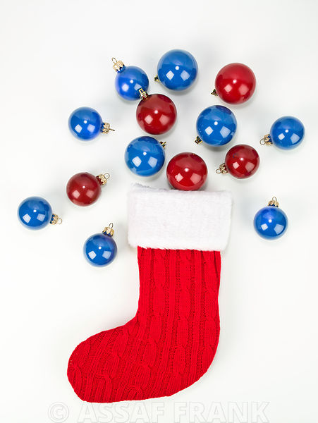 Christmas stockings with baubles