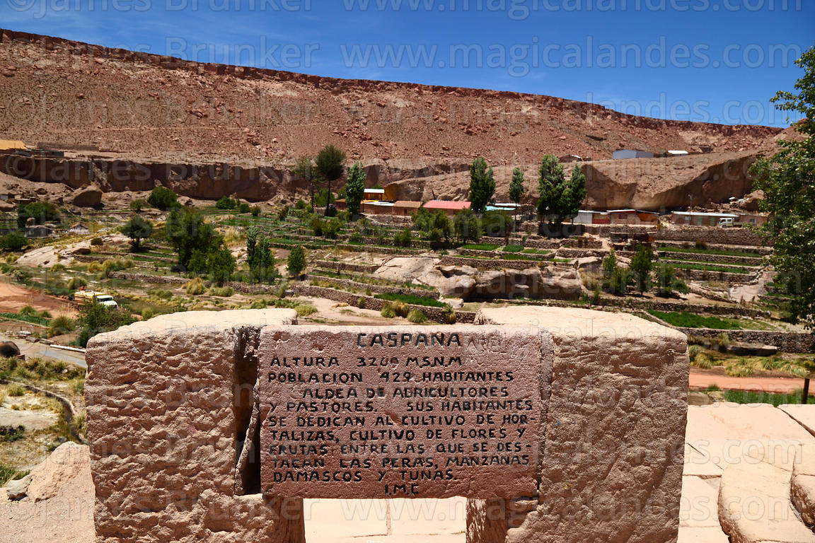 Stone block with information about oasis village of Caspana, Region II, Chile
