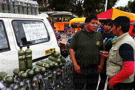 Stall selling Energy Coca fizzy soft drinks at trade fair promoting alternative products made from coca leaves , La Paz , Bol...