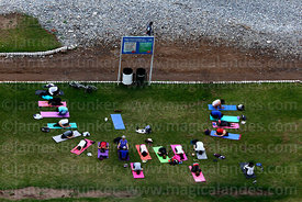 Yoga class next to beach on Costa Verde, Miraflores, Lima, Peru