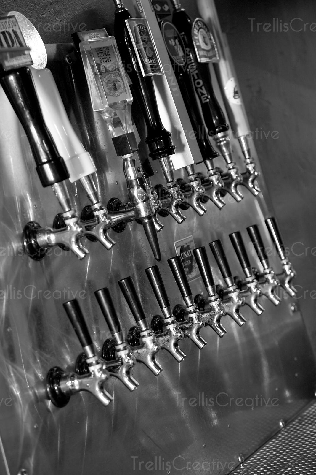 Close-up of beer tap handles