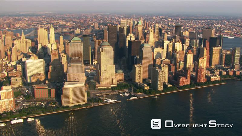 Flight along Hudson River to view Lower Manhattan.
