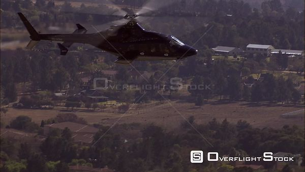 Aerial of a helicopter flying over Kyalami in Gauteng, South Africa. Gauteng South Africa