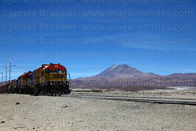 GL26 C-2 diesel #2006 with freight train at Ollagüe, Aucanquilcha volcano in background, Region II, Chile