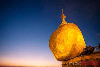 Sunset over Golden rock, Kyaikhtiyo, Myanmar