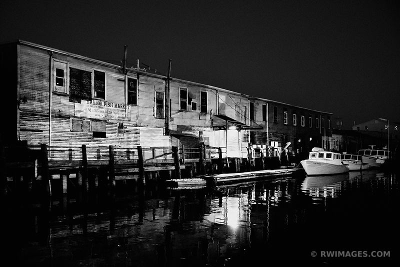 HARBOR FISH MARKET PORTLAND MAINE AT NIGHT BLACK AND WHITE