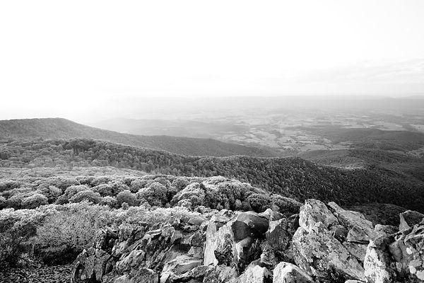 STONY MAN MOUNTAIN SUNSET SHENANDOAH NATIONAL PARK VIRGINIA BLACK AND WHITE
