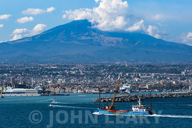 Coastline around the Port of Catania Sicily.