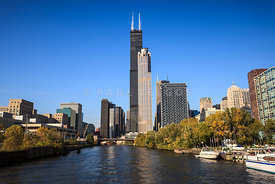 Chicago River with Willis-Sears Tower