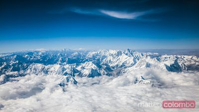 Aerial view of Himalaya range with mount Everest, Nepal