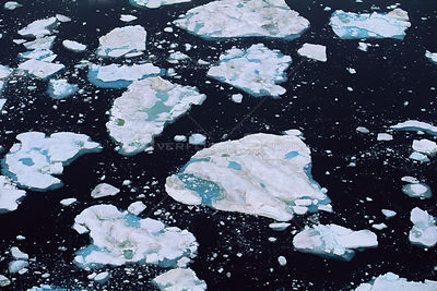 Aerial view of sea ice breaking up in late Spring, Lancaster Sound, Canada Arctic