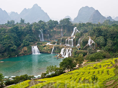 A natural view of hill and stream in Guangxi Province China