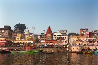 View of the Ganges River and Varanasi centered on Prayag Ghat, Varanasi, India.