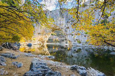 Natural arch over the river at Pont d'Arc in Ardeche