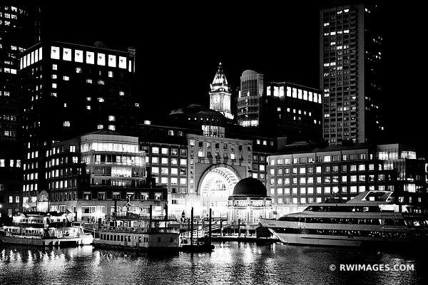 ROWES WHARF BOSTON WATERFRONT SKYLINE NIGHT BLACK AND WHITE