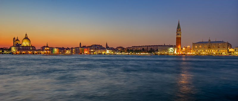 View Across the Grand Canal in Venice at Dusk