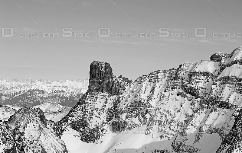 Black and White of Farnham Tower Purcell Mountains BC