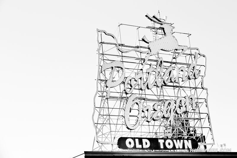 WHITE STAG SIGN OLD TOWN PORTLAND OREGON BLACK AND WHITE HORIZONTAL
