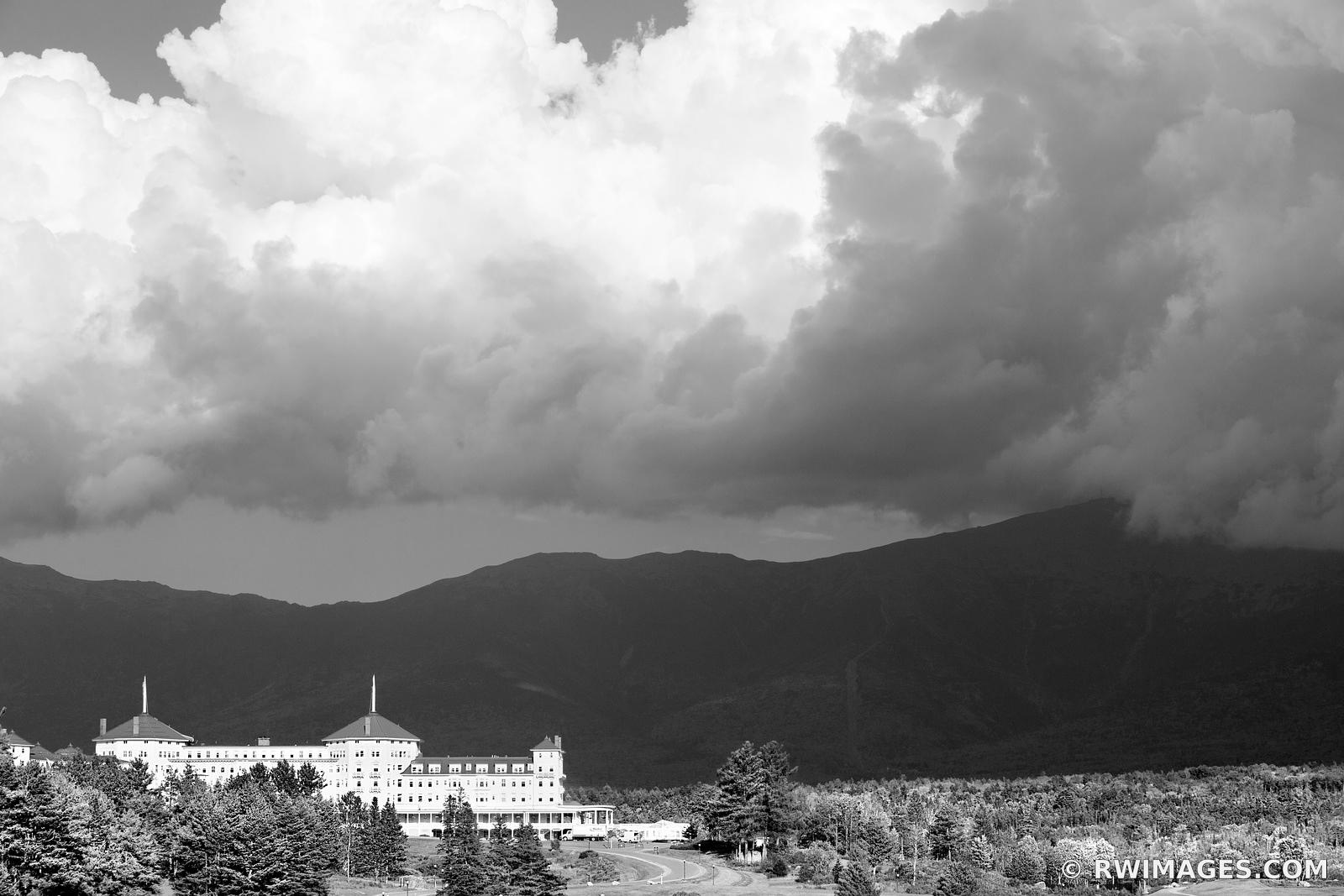 MOUNT WASHINGTON HOTEL AT SUNSET WHITE MOUNTAINS NEW HAMPSHIRE BLACK AND WHITE