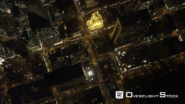 Looking down over Midtown Manhattan at night.