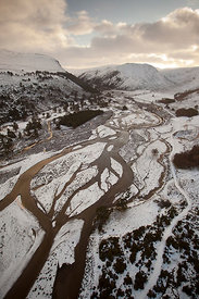 Aerial view over Glenfeshie in winter, Cairngorms National Park, Scotland, UK, January 2012