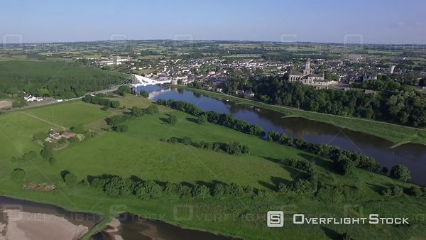 Aerial view of the Loire filmed by drone, Saint-Florent-le-Vieil, France