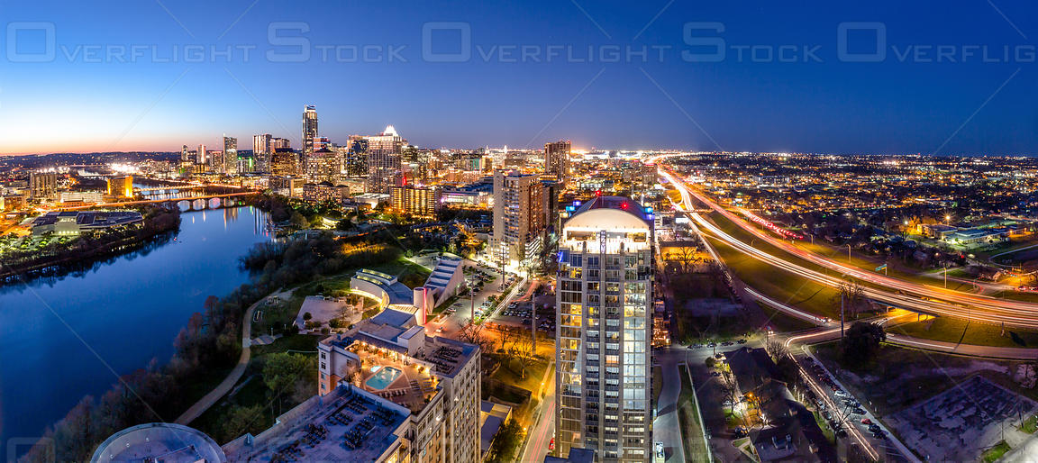 Aerial View of Austin Texas at Night  USA