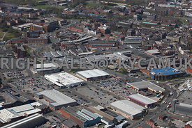 Bury aerial photograph looking across from the Rochdale Raod towards Anglouleme Retail Park towards Bury Market