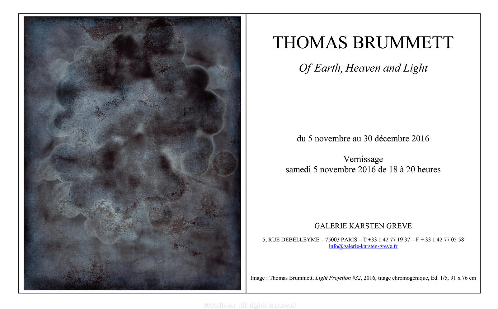 Thomas Brummett 2016 Paris Exhibition: Of Heaven Earth and Light,  November 5th, 2016
