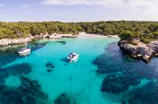 Aerial view of Cala Turqueta bay, Menorca