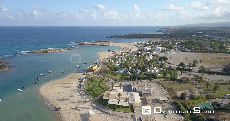 Flying over Carmel beach resort Israel