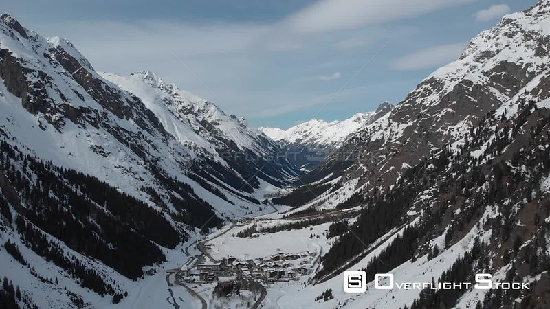 Aerial shot of Mandarfen village in Pitztal valley and Tyrolean Alps in Tyrol, Austria