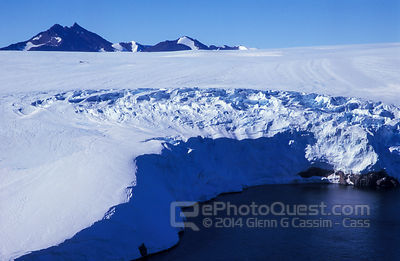 Aerial View of Ice-Cliffs Meeting Sea