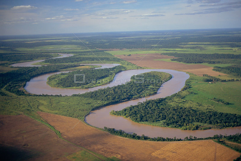 Humid chaco forest cleared for agricultural land on flood plains, Bermejo river, N Argentina, South America