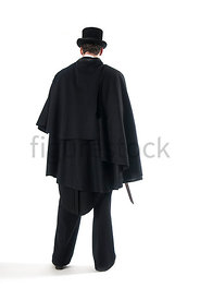 A Figurestock image of a mystery Victorian man in a cloak, holding a knife - shot from eye level.