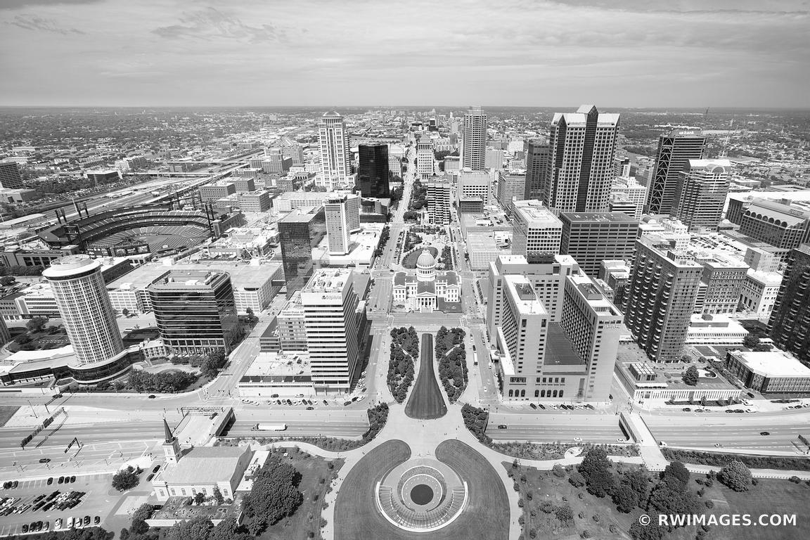 DOWNTOWN SAINT LOUIS MISSOURI AERIAL VIEW BLACK AND WHITE