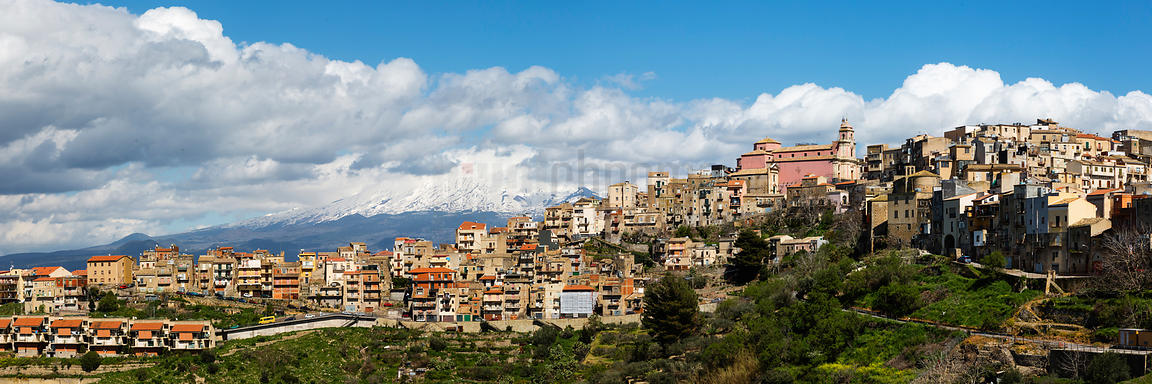 Panoramic view of Centuripe cityscape under Mount Etna, Enna, Sicily
