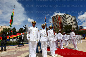 Members of the Bolivian navy standing in front of monument to Eduardo Abaroa during Dia del Mar / Day of the Sea, Plaza Avaro...