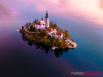 Drone view of Bled island at sunrise, Slovenia