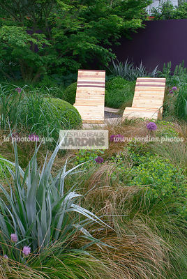 Border, Chair, Contemporary garden, Garden furniture, Natural garden, Resting area, Wild garden, Digital, Grasses, Scenery, S...