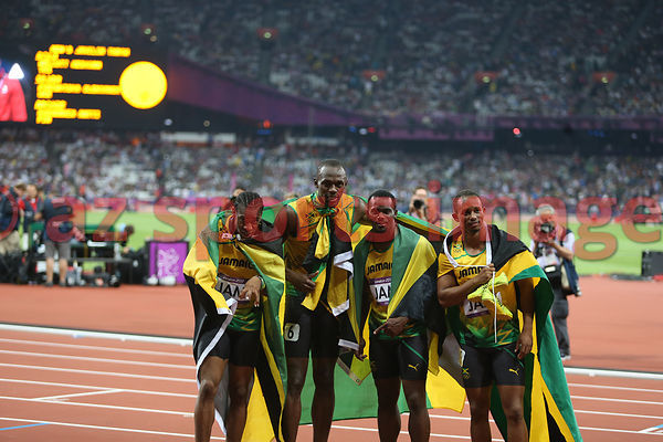 The 4x100m Jamaican team