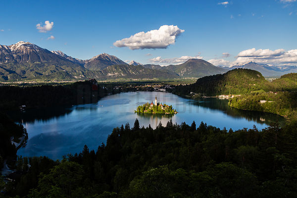 Elevated View of Lake Bled, The Church of the Assumption and Bled Castle