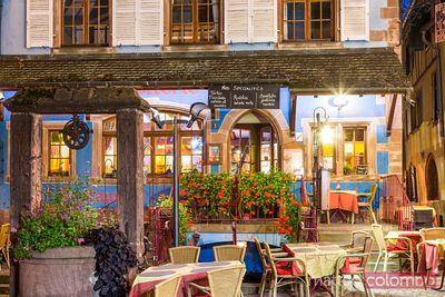 Typical restaurant at night, Riquewihr, Alsace, France