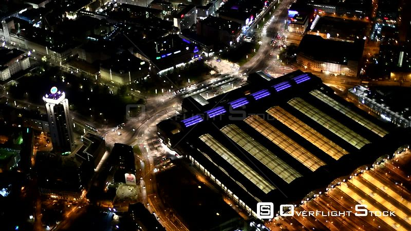 Night aerial video Main station in Leipzig in the state of Saxony